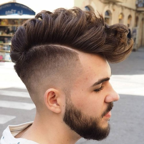 Long Wavy Faded Mohawk with Beard
