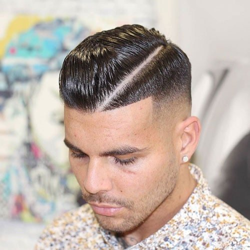 Men's Hard Line Shaved Part - High Fade with Hard Side Part and Edge Up