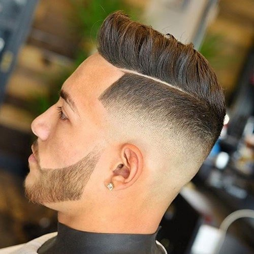 Mid Bald Fade and Shape Up with Parted Textured Hair