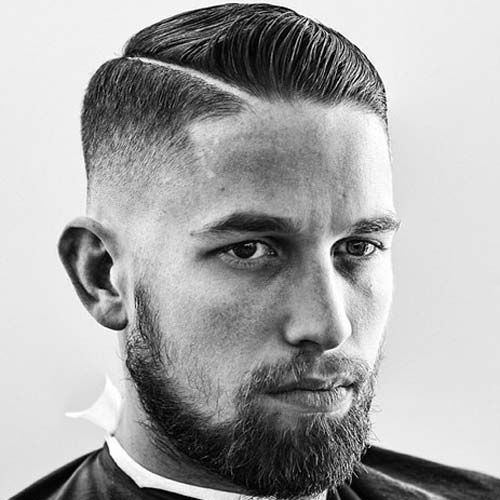 Shaved Part Haircut - Low Bald Fade with Hard Part and Comb Over