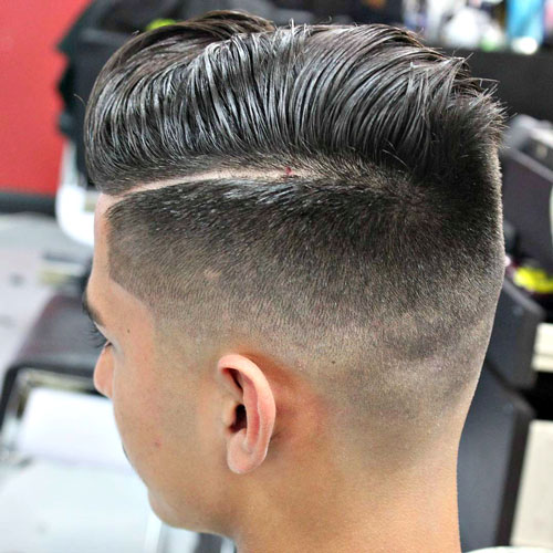 Shaved Part in Hair - Mid Fade with Hard Side Part