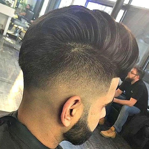 Thick Mohawk Fade with Edge Up and Beard