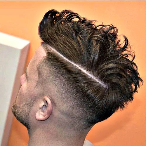 Bald Taper Fade and Hard Part with Messy Hair
