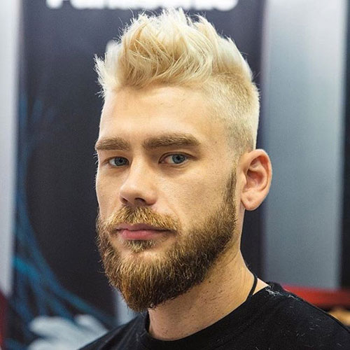 Blonde Brushed Up Hair with Tapered Sides