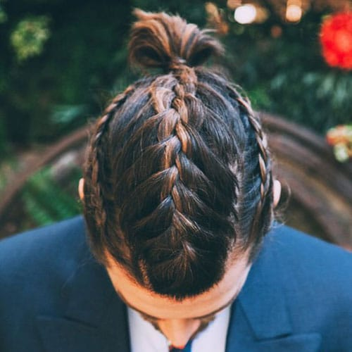 Braided Hair with Top Knot