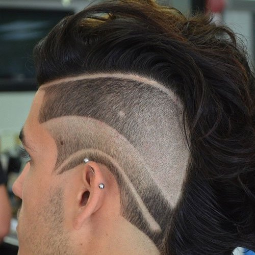 Burst Fade with Mohawk and Hair Designs