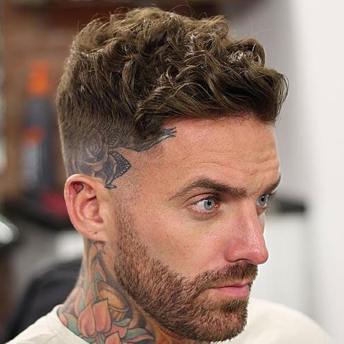 Curly Crew Cut with Side Swept Hair and Mid Fade