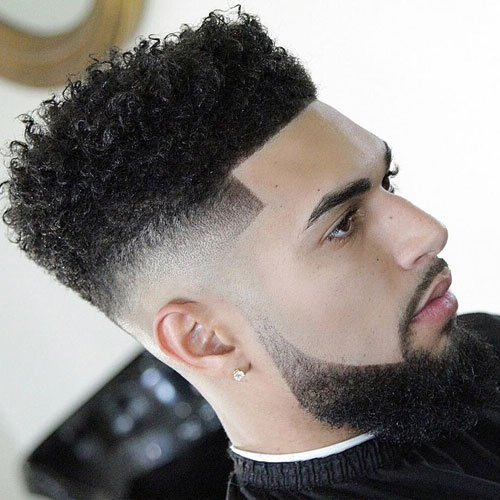 Curly Hair Top with High Bald Fade