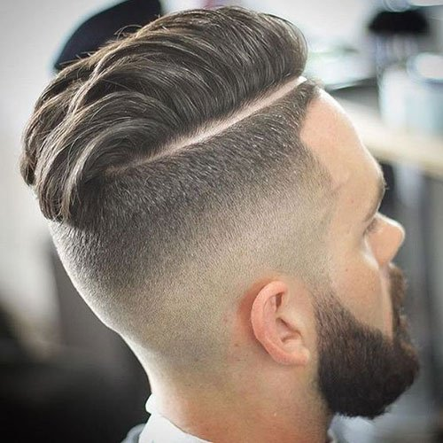 High Bald Fade with Hard Part and Textured Top
