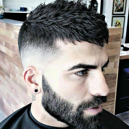 High Bald Fade with Textured French Crop and Full Beard