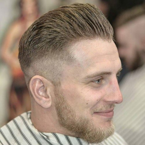 High Fade with Brush Back and Beard