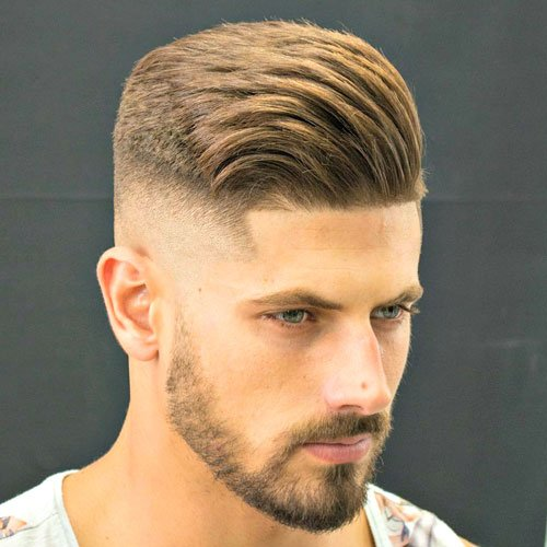 High Fade with Shape Up and Textured Side Swept Hair