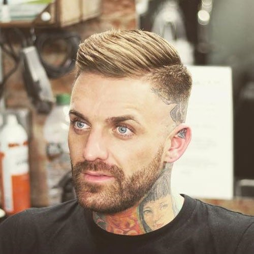 High Razor Fade with Side Part and Beard