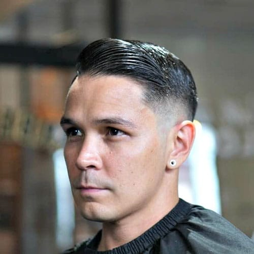 High Razor Fade with Slicked Comb Over