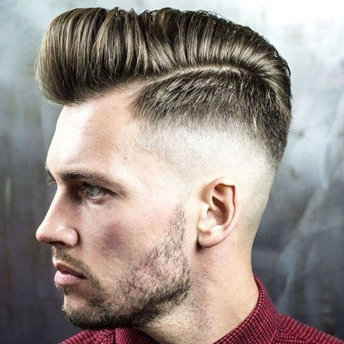 High Skin Fade Pompadour with Beard