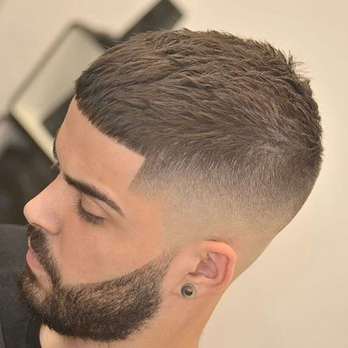 High Skin Fade with Caesar Cut and Beard