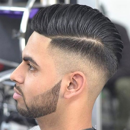 High Skin Fade with Hard Part Comb Over