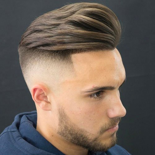 High Skin Fade with Quiff and Beard