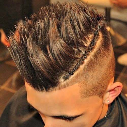 High Temp Fade with Braids and Long Spiky Hair