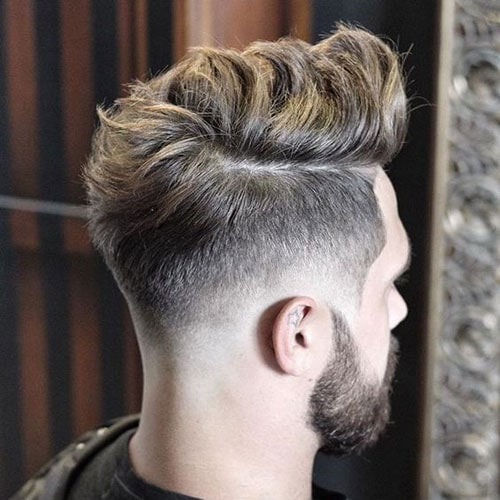 Low Bald Fade with Quiff and Beard