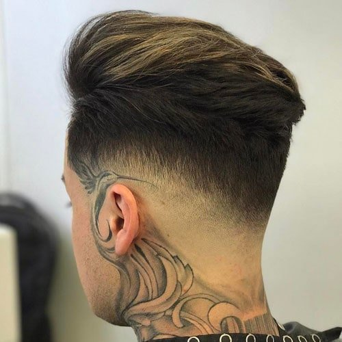 Low Bald Fade with Textured Brush Back