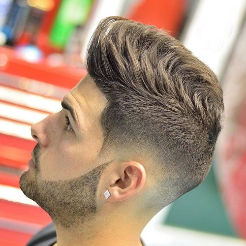 Low Skin Fade with Shape Up and Pompadour