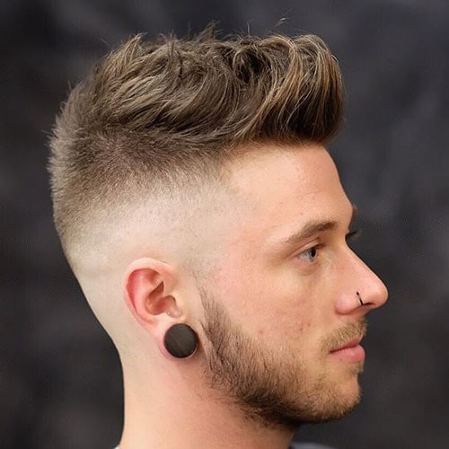 Messy Quiff with High Skin Fade and Beard