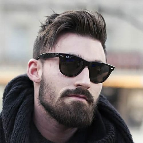 Messy Side Swept Hair with Short Sides and Beard