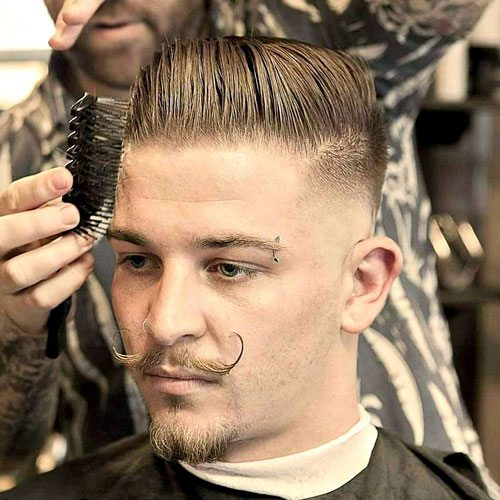 Mid Razor Fade with Comb Over and Handlebar Mustache
