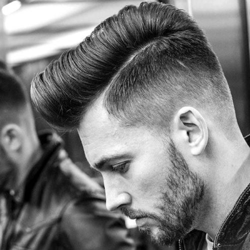 Modern Pompadour with Taper Fade and Beard