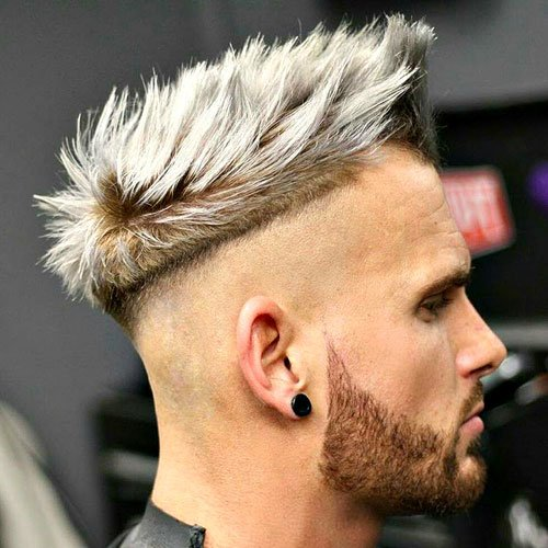 Quiff with Disconnected Razor Fade and Beard