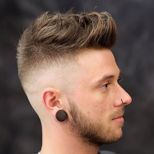 Quiff with High Skin Fade and Beard