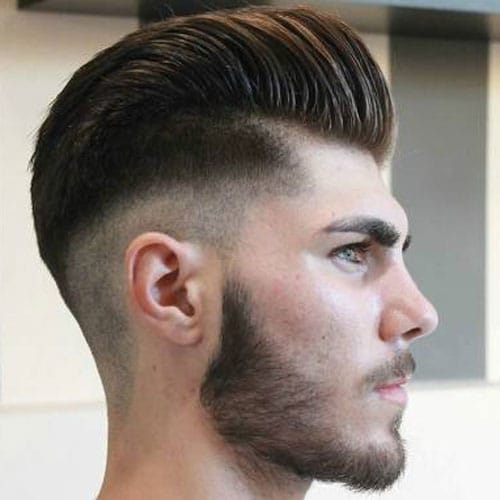 Razor Fade with Pompadour and Beard