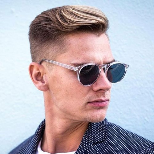 Taper Fade with Textured Side Swept Hair