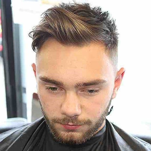 Textured Side Swept Fringe with Fade and Beard
