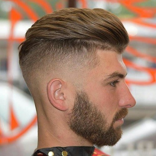 Textured Slick Back with Low Fade and Line Up