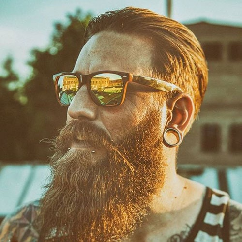 Textured Slicked Back Hair with Thick Long Beard