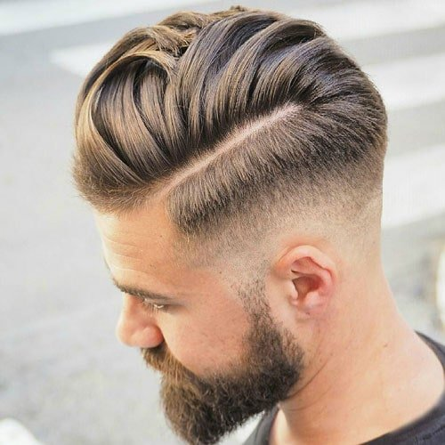 Thick Comb Over with Razor Fade and Beard