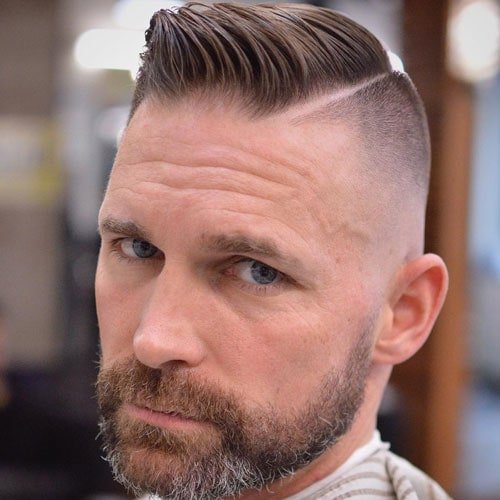 Undercut with Hard Part Comb Over and Beard