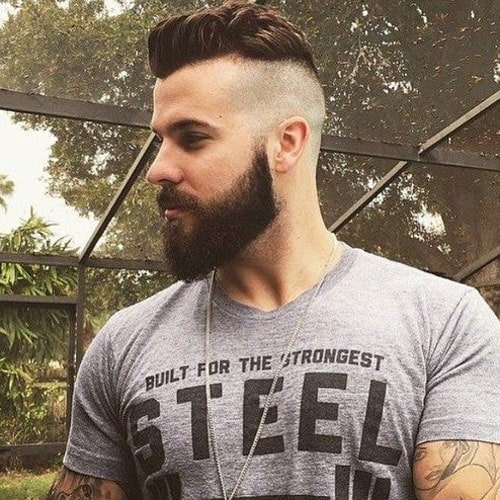 Undercut with Thick Brushed Up Hair and Beard