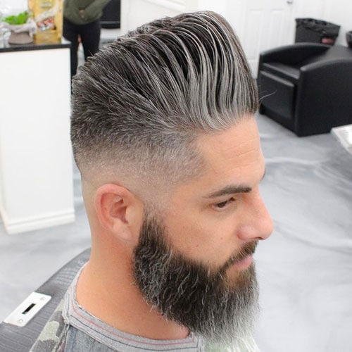 Cool Hairstyle and Beard For Older Men - Pompadour Fade with Beard