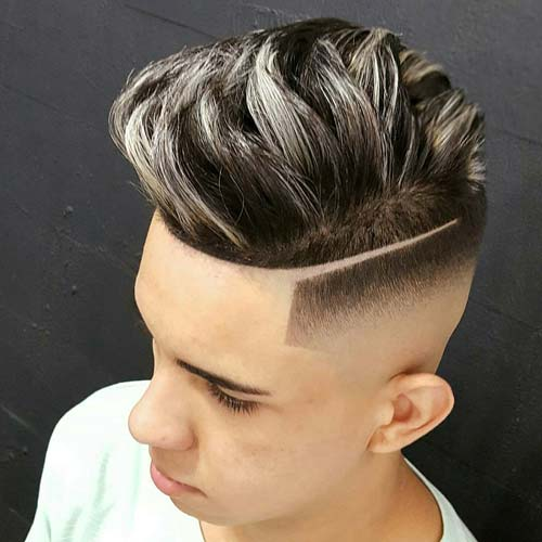 High Bald Fade with Part and Quiff