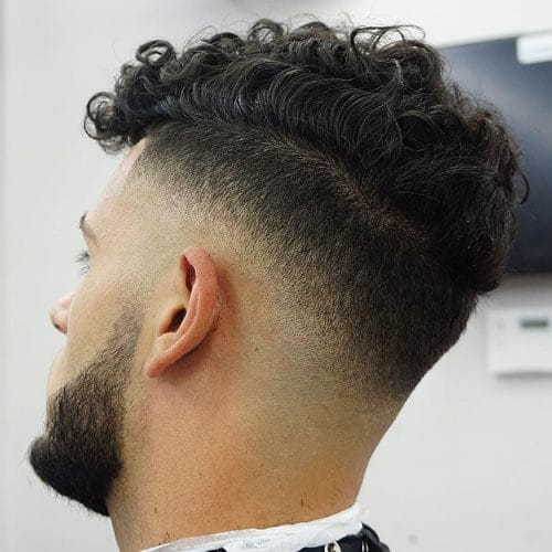 High Drop Fade with Curly Fringe