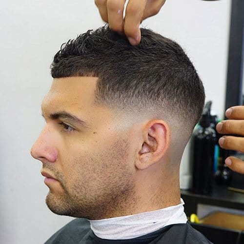 Low Bald Fade with Line Up and Buzz Cut