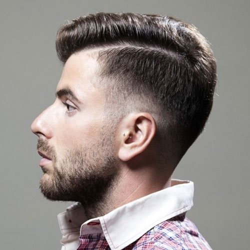 Low Drop Fade with Hard Side Part and Beard