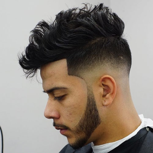 Low Razor Fade with Messy Quiff