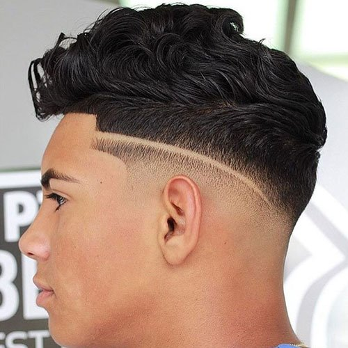 Low Skin Fade with Line Up and Quiff