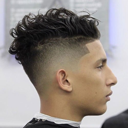 Messy Curly Hair with High Skin Fade and Line Up