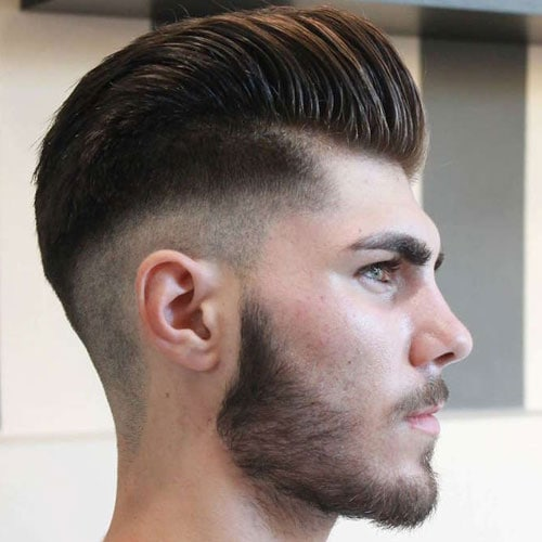 Mid Bald Fade with Pompadour and Beard