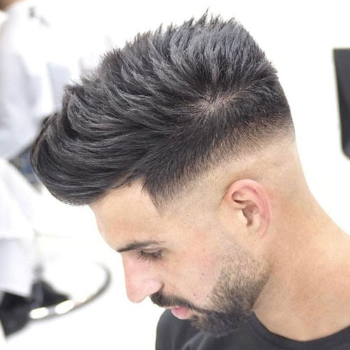Mid Skin Fade with Quiff and Beard
